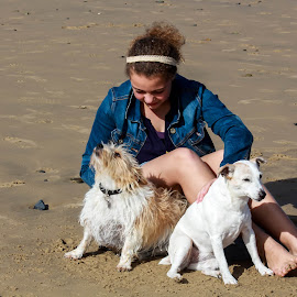 On the beach by Susan Pretorius - Animals - Dogs Portraits (  )