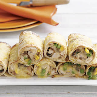 Cheesy Chicken and Corn Wraps.
