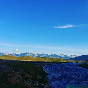 Plateau deo sai by Zubair Chana - Landscapes Mountains & Hills ( sky, blue water, mountain, greenery, stream, plateau, skyline, river )