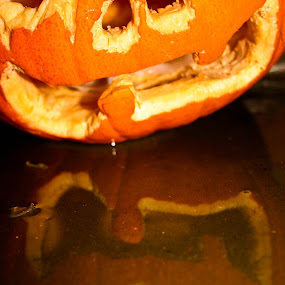 Halloween Reflection by Steve Weston - Public Holidays Halloween ( holiday, orange, reflection, pumpkin, halloween )