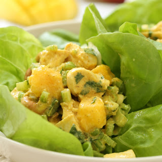 Light Curried Chicken Salad with Mango and Cashews.