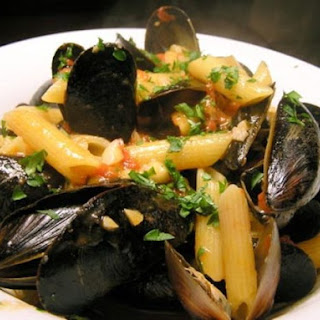 Mussels with Tomato Broth and Penne.