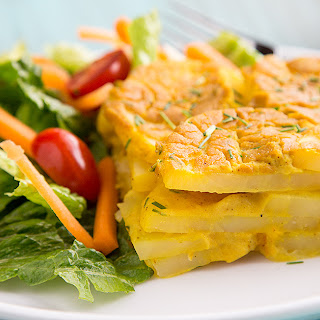 Vegan Scalloped Potatoes with Chickpea Cheese Sauce.