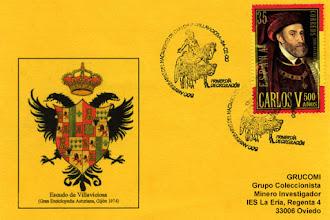 Photo: Tarjeta del Grucomi con el matasellos del 24 de febrero de 2000 dedicado en Villaviciosa al 500 aniversario del nacimiento de Carlos V