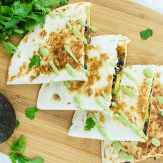 Black Beans, Beef and Avocado Quesadillas.