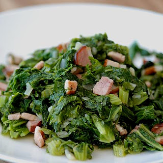 Braised Mustard Greens with Bacon and Shallots Recipe