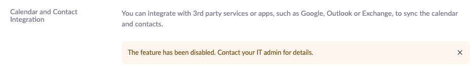 Zoom features administratively disabled: Calendaring.