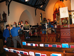 Photo: Dec. 2006: Rehearsal for fall concert at St. John's Episcopal Church; talking with recording engineer, Mark Henkin.