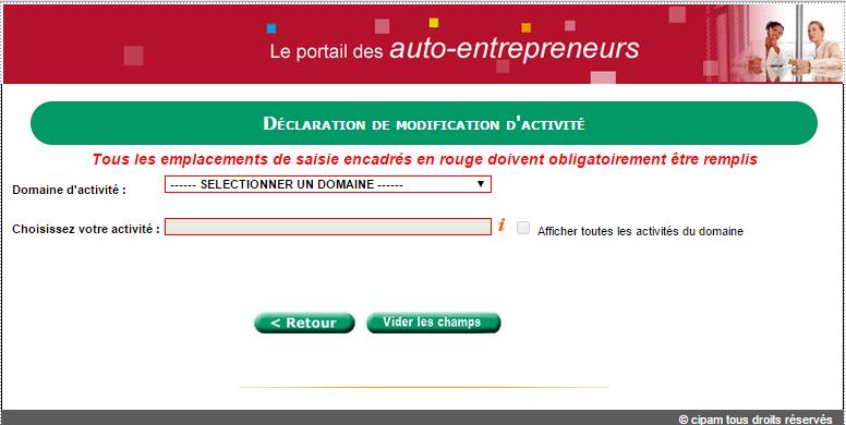 Modification activité autoentrepreneur 2