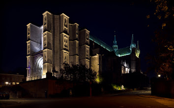 Photo: The collegiate church of Sainte-Waudru Mons, Belgium. 2011.  Built between the 15th and 17th century, the Brabantine Gothic cathedral is one of the most impressive buildings in Mons.  Europe is a night photographers paradise, just about every important building has installed dramatic night lighting. I captured this scene during a late night stroll through Mons, the place was absolutely deserted, but they left the light on the main attraction so I could shoot it.  While shooting the church, I tried alot of different and dramatic angles, but in the end, I chose to post a more common scene because the building was already dramatic.  #Paris2011_RicardoLagos