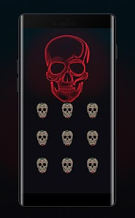 Skull APP Lock Theme Neon Pin Lock Screen - náhled