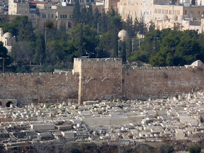 Photo: The Eastern Gate of the Old City, Jerusalem. Knowing the Biblical prophesy that Jesus will return through the Eastern Gate, the Muslims filled the gate with rocks, and built a graveyard in front of it, hoping to prevent this from happening. Somehow I don't think this will be a problem. :-)
