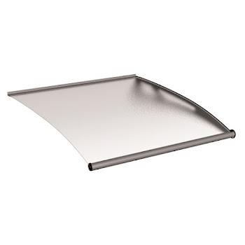 Module d'extension pour auvent marquise de porte, verre acrylique, fixation inox, 121 x 142 cm