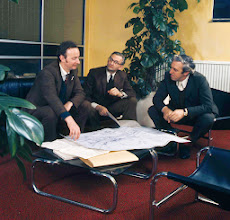 Photo: A photo of the founders: Robert Simpson, Michael Ray and Denis Naisbitt in 1974.