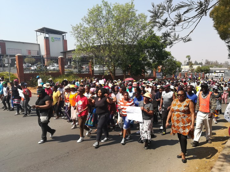 Hundreds of residents of Zandspruit informal settlement marched to Honeydew Police Station to demand better policing on September 19 2018