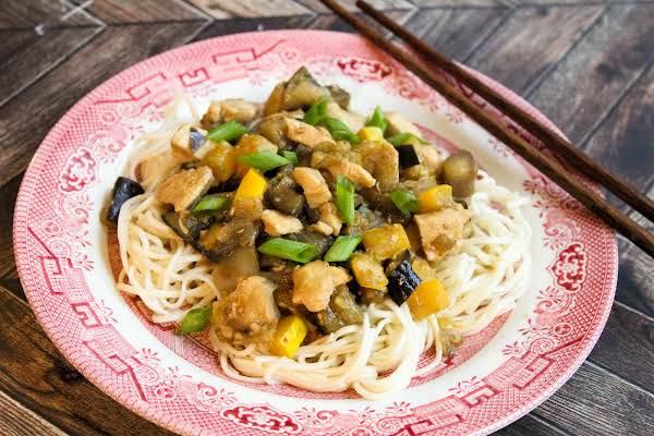 Garden Chicken Stir-fry On Noodles.