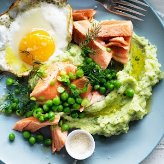 Ocean Trout With Green Mash, Peas And A Fried Egg.