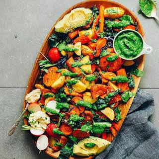 Roasted Vegetable Salad with Chimichurri.