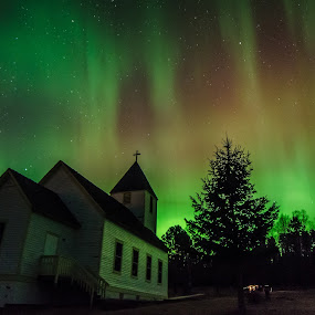 Northern Lights at Maple Hill Church by David Johnson - Buildings & Architecture Public & Historical ( church, colorful, northern lights, aurora borealis, historic )