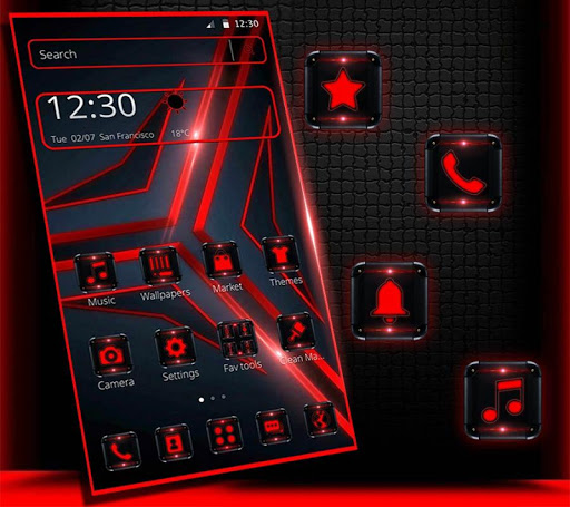 Red Black Tech Theme Screenshot 7