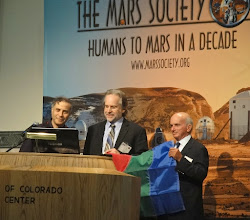 Photo: Dr. Robert Zubrin , President Mars Society Taber MacCallum, CEO & CTO Paragon Space Dev. Corp. Denis Tito, First Tourist in Space (MIR)