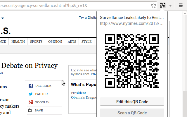 The qr code extension chrome web store allows to generate a qr code for the current page and scan a qr code using the webcam fandeluxe