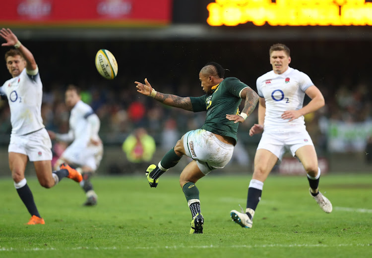 Elton Jantjies of the Springboks kicks the ball during the international rugby match between South Africa and England at Newlands Stadium, Cape Town on June 23 2018.