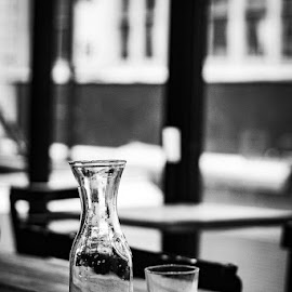 by Mary Phelps - Black & White Objects & Still Life ( glass, bokeh, still life, black and white, canon )