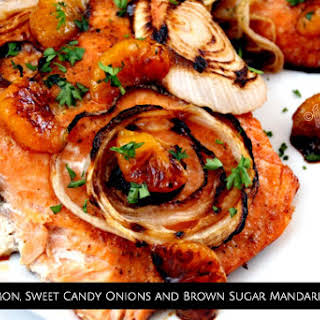 Baked Salmon, Sweet Candy Onions and Brown Sugar Mandarin Glaze.