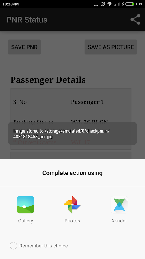 Check PNR status- screenshot