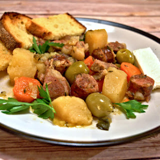 Sausage and Pork Bites with Carrots and Potatoes