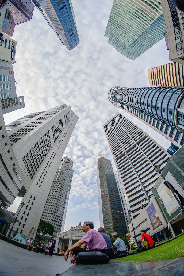 Raffles Place by Kwa Cheng Hock - Buildings & Architecture Office Buildings & Hotels ( finance house, fisheye, mrt, raffles place )