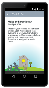"Nest app ""Make and prepare an escape plan"" screen"