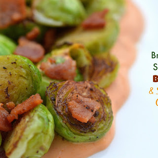 Sauteed Brussels Sprouts with Sriracha Cream.