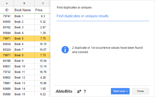 Remove Duplicates - Google Sheets add-on