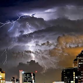 Singapore by Rouslan Podroutchniak - Landscapes Weather ( lighting strike, night lighting, city lighting, rain lighting strike, city rain )