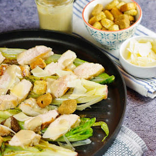 Skillet Grilled Romaine Hearts with Homemade Caesar Dressing.