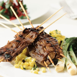 Grilled Pork Kebabs with Ginger Molasses Barbecue Sauce Recipe