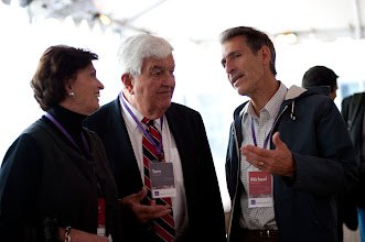 Photo: (Left to right) – Former U.S. Secretary of Labor and RAND Trustee Ann M. Korologos and her husband, former U.S. Ambassador to Belgium, Tom C. Korologos, chat with Ann Korologos' Politics Aside co-chair and fellow RAND Trustee Michael Lynton during lunch Friday, Nov. 16, 2012 at the Santa Monica headquarters campus of RAND.