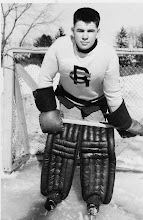 Photo: He attended Sudbury High School for grade nine and then went to Ridley College in St. Catharines to complete his high school. He played football and hockey, and became the first team goalie. At Ridley he was known as was 'Porky', some thought because of his fondness for food, especially chocolates. Mr. Griffith, the principal, described him as a 'fuzzy bear', because of his thick brush cut. Griffith didn't like brush cuts and told Donald to grow it out. However his hair kept growing, straight up, and all the Brylcream (hair cream) in the world couldn't keep it down. Griffith relented and he was allowed to keep his distinctive style. Porky was known at Ridley for his generosity, enthusiasm and sense of humour. When he went overseas, he gave his goalie pads on to Jim Hinds, a young Sudbury friend.
