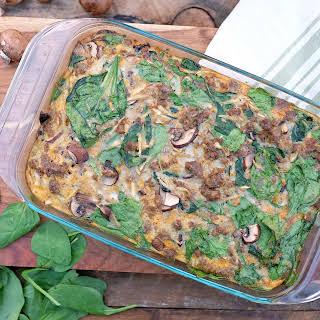 Sausage Parsnip Breakfast Casserole.