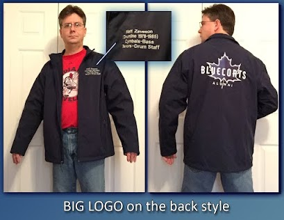 Alumni Jacket - Big Back Logo, front left 2 line personalization. Supplier cost determined with number of jackets ordered.