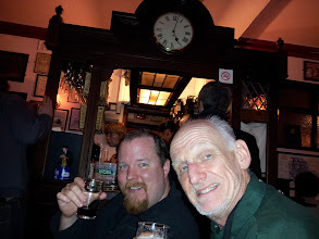 Photo: Russ and Ed toast to real ale at Fat Cat.