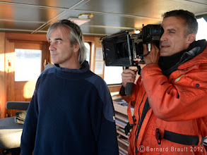 Photo: Press photographer #BernardBrault on the #SEDNA IV, with biologist #JeanLemire.  DP Yannick Rose is using the #SHAPE QUICK HANDLE ROD BLOC with his #ARRI ALEXA.