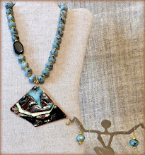 Photo: #177 THE CALM BEFORE THE STORM ~ ЗАТИШШЯ ПЕРЕД БУРЕЮ Copper enamel pendant, kiwi jasper, gold plate $150/set