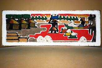 Photo: 20. Sand painting on wood depicting salt collection in Lac Rose lake [NOT part of the lottery]