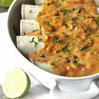 Chicken Poblano Burritos with Creamy Chipotle Cauliflower Sauce