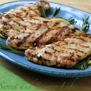 Rosemary-Lemon Marinated Grilled Chicken Breasts.