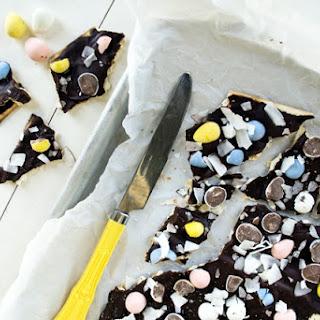 CHOCOLATE COCONUT MATZOH BARK.