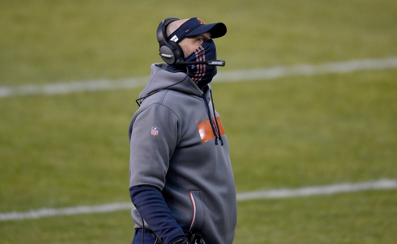 Head coach Matt Nagy of the Chicago Bears looks on from the sidelines against the Green Bay Packers during the first quarter in the game at Soldier Field on January 03, 2021, in Chicago, Illinois. (Photo by Quinn Harris/Getty Images)